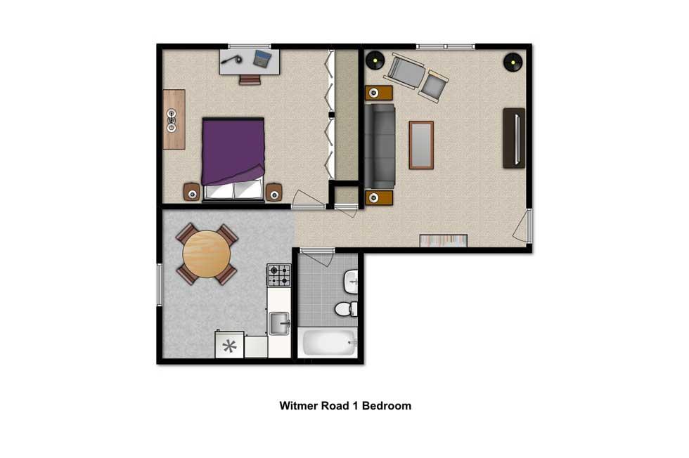 1 Bedroom Floor Plan Witmer Road Apartments North Tonawanda